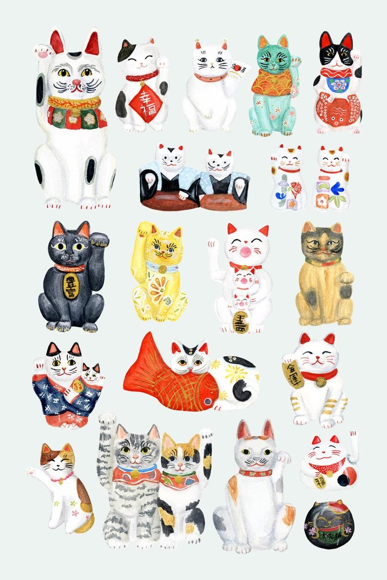 Maneki Neko Collection Japanese lucky cat art print of image 0