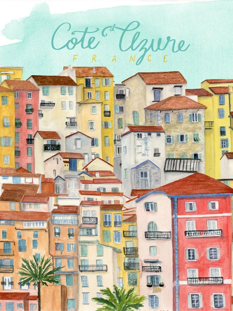Cote d'Azure France Travel Poster art print of watercolor image 0