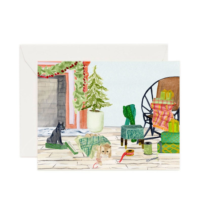Wrapping Cats Holiday Card image 1