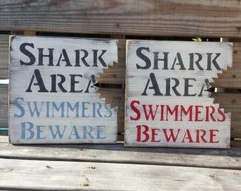Beach Shark Bite Sign Nautical Nursery Or Coastal Decor