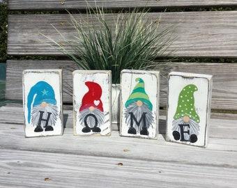 Gnome set of 4 HOME blocks shelf sitter farmhouse decor