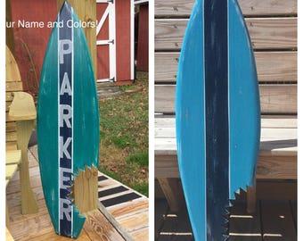 Surfboard LARGE Shark Bite Custom Name and Colors Nautical Nursery Beach Decor