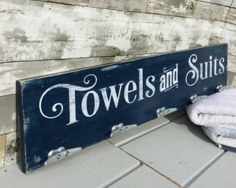 Towels and Suits sign, pool sign, nautical towel rack, nautical bath, boating sign