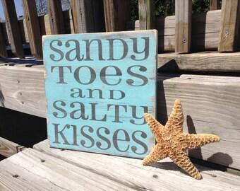 Sandy Toes and Salty Kisses Beach Sign nautical Coastal Nursery Decor