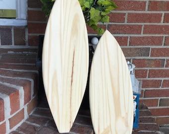Surfboard unfinished wood DIY coastal nautical beach decor