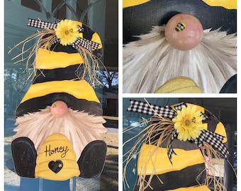 Gnome Bumble Bee Door hanger wreath Farmhouse sign decor