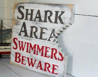 Shark bite sign, nautical nursery, beach decor, surf nursery shark theme
