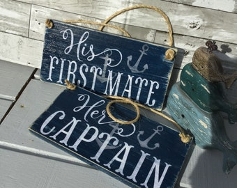 Nautical Captain and First Mate anchor Wedding Signs Beach and Coastal Decor