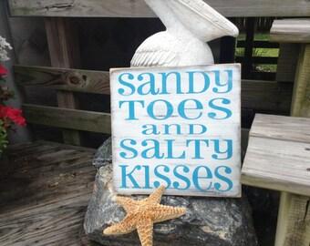 Beach Sign Sandy Toes Salty Kisses Coastal and Nursery Decor