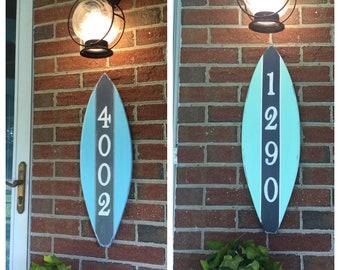 Surfboard House Number Sign custom coastal and beach decor