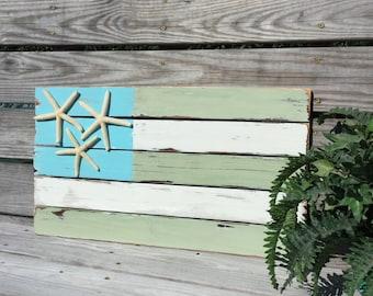 Flag sign, pallet flag, beach nursery, nautical flag, traditional or coastal flag, starfish sign