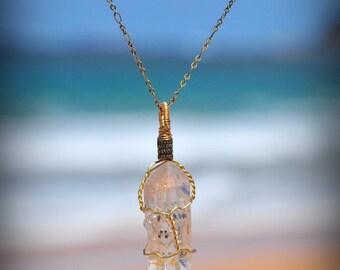 Raw Clear Quartz Necklace // Bronze Wire Wrapped Quartz Necklace // Gemstone Jewelry // Healing Crystal Jewellery