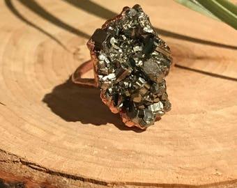 Pyrite Copper Ring