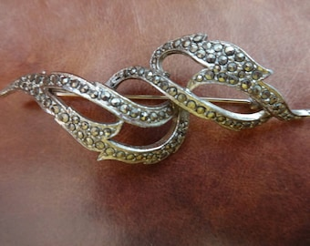 Vintage Scroll Shaped Marcasite Brooch