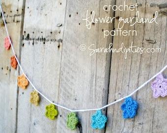 Crochet Flower Garland Pattern - INSTANT DOWNLOAD - Crochet Pattern PDF