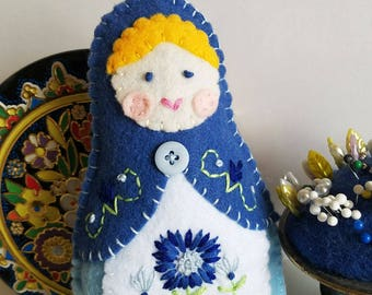 Handmade Felt Matryoshka Doll - Embroidered Light Sky Cornflower Blue - Yellow Hair - Blue Eyes - Heirloom Style - Russian Baby Doll - OOAK