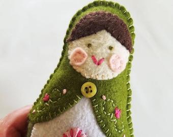 Handmade Felt Matryoshka Doll - Embroidered Olive Green Pink Sage Green - Heirloom Style - Russian Baby Doll - OOAK - Waldorf