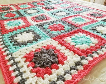 Retro Granny's Flower Baby Afghan - Granny Square Blanket - Coral Mint Grey - Baby Blanket - Throw Blanket - Nursery Decor - Baby - Newborn