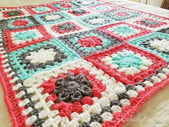 Crochet quilt periwinkle blue coral white blanket throw