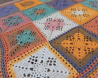 Retro Victorian Baby Afghan - Granny Square Blanket - Coral Mint Yellow Periwinkle -  Throw Blanket - Nursery Decor - Baby - Newborn OOAK