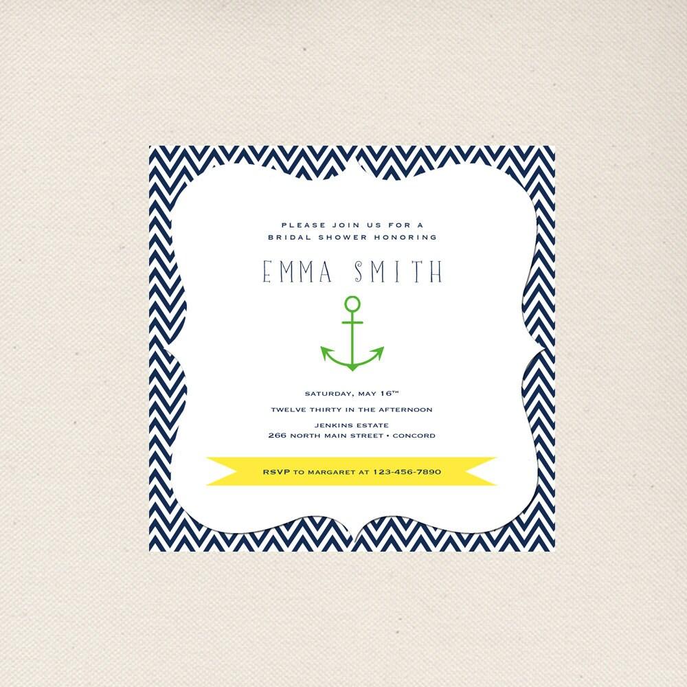 Nautical Bridal Shower Invitations   Etsy