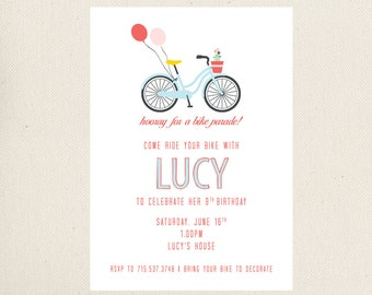 Bike Parade Birthday Invitations
