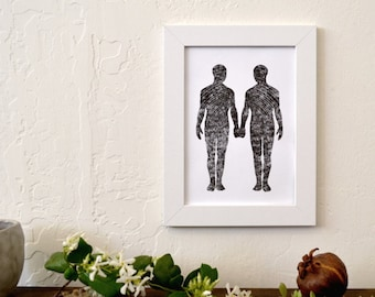 "contemporary lgbt art: ""love is love,"" hand-pressed thermal print"