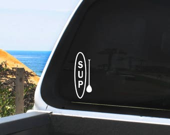 SUP and Text Vinyl Decal - Stand Up Paddle Boarding Graphic - In multiple sizes and colors - For Any Smooth Non-Porous Surface