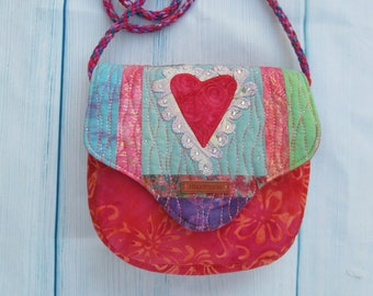 Boho Artsy Style Cross Body Bag Purse with Applique Heart and Pieced Flap, Kumihimo Strap in Batik Fabrics