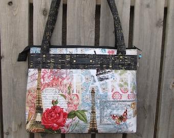 Paris Print Fabric Handbag Shoulder Bag Purse with Faux Black Cork Accents
