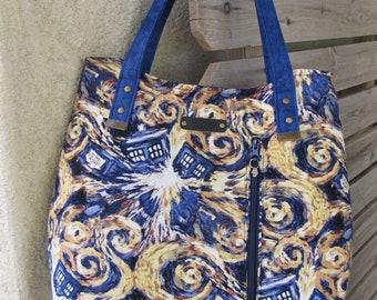 Tote Bag in Dr. Who Tardis Fabric, Dr. Who, Tardis, Bag