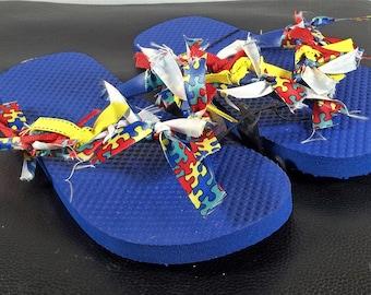 Handcrafted Autism Embellished Flip Flops