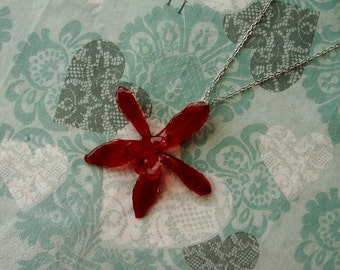 REAL Orchid Flower Pendant - Red Amber Orchid Necklace - Silver Chain - Choose Chain Length