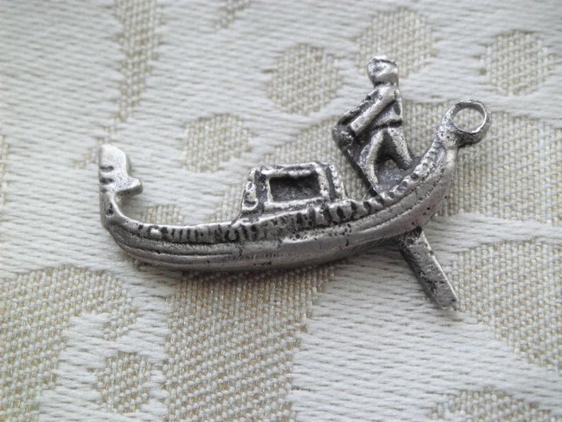 OLD Vintage 800 Silver Gondola Charm Venice Travel