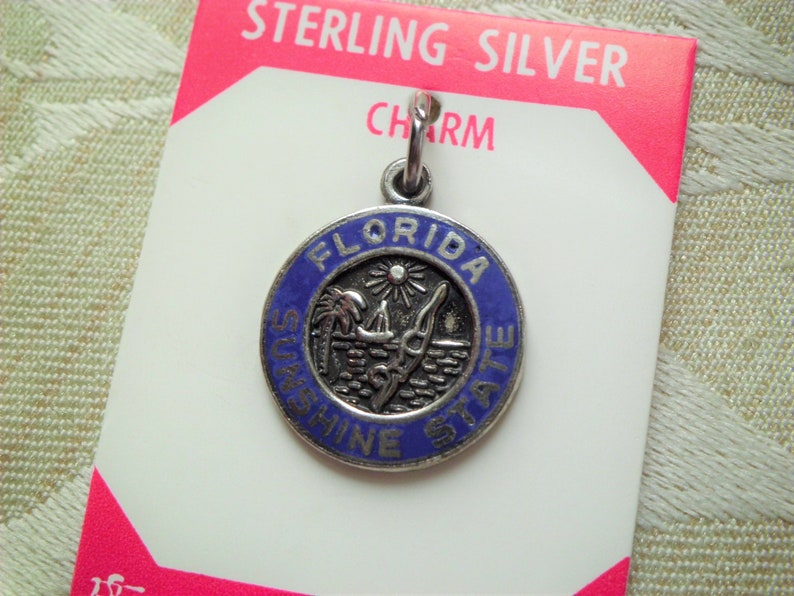 Vintage Elco Sterling Florida Sunshine State Travel Charm New Old Stock