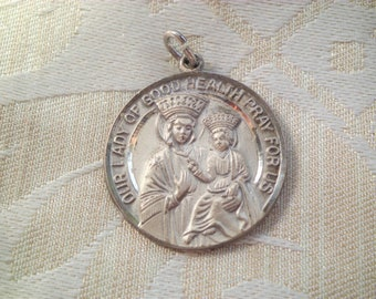 Vintage STERLING Our Lady of Good Health or Our Lady of Vailankanni Religious Medal Charm