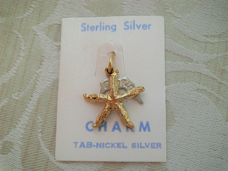 Vintage Gold Tone Sterling Silver Star Fish Florida Travel Charm