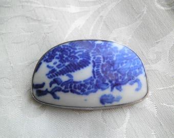 Vintage Sterling Broken Pottery Shard Dragon Brooch