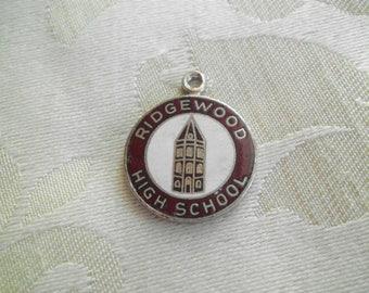 Vintage Schoolart Ridgewood High School Round Charm Red & White Enamel