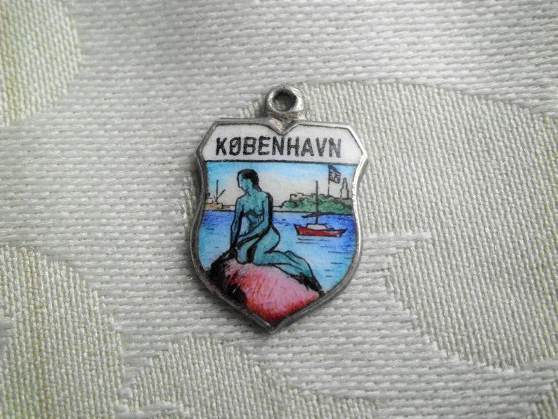 Vintage 835 Silver Copenhagen Kobenhavn Little Mermaid Denmark Travel Shield Charm