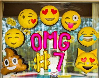 Emoji Party Balloons OMG Decorations Photo Prop Theme Birthday