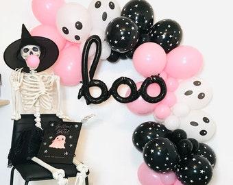 Pink Halloween Balloon Garland, Pink Halloween, Boo Day, Boo, Pastel Halloween, Pink Halloween Garland Boo Balloon Pink Black Halloween