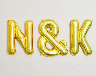 Gold Initial Balloons,Custom Initial Balloons,Wedding Banner, Engaged Balloons,Engagement Photo Prop,Initial Balloons, Initial Banner,