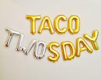 TACO TWOsday Balloons, 2nd Birthday Party, 2 year Old, Taco Party, Taco Bout 2, Taco Bout It, Taco Bout A Party, Tacos, Taco Tuesday