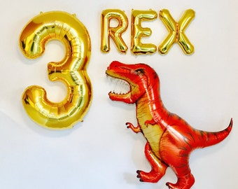 Three Rex Balloons Dinosaur Party T 3rd Birthday For Boys
