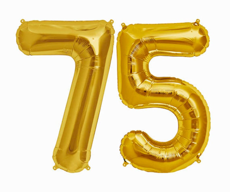 GOLD 75 Balloon Gold 75th Birthday Number