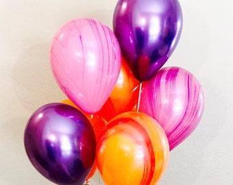 Orange Marble Balloon, Orange Purple Pink Balloons, Tropical Color Balloons, Bright Balloons, Purple Chrome Balloons,Purple and Pink Balloon