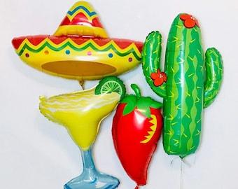 FIESTA SET, Cactus Balloon, Pepper Balloon, Sombrero Balloon, Taco Bar, Fiesta Decoration, FIestas, Fiesta Theme, Fiesta Party, Taco Party