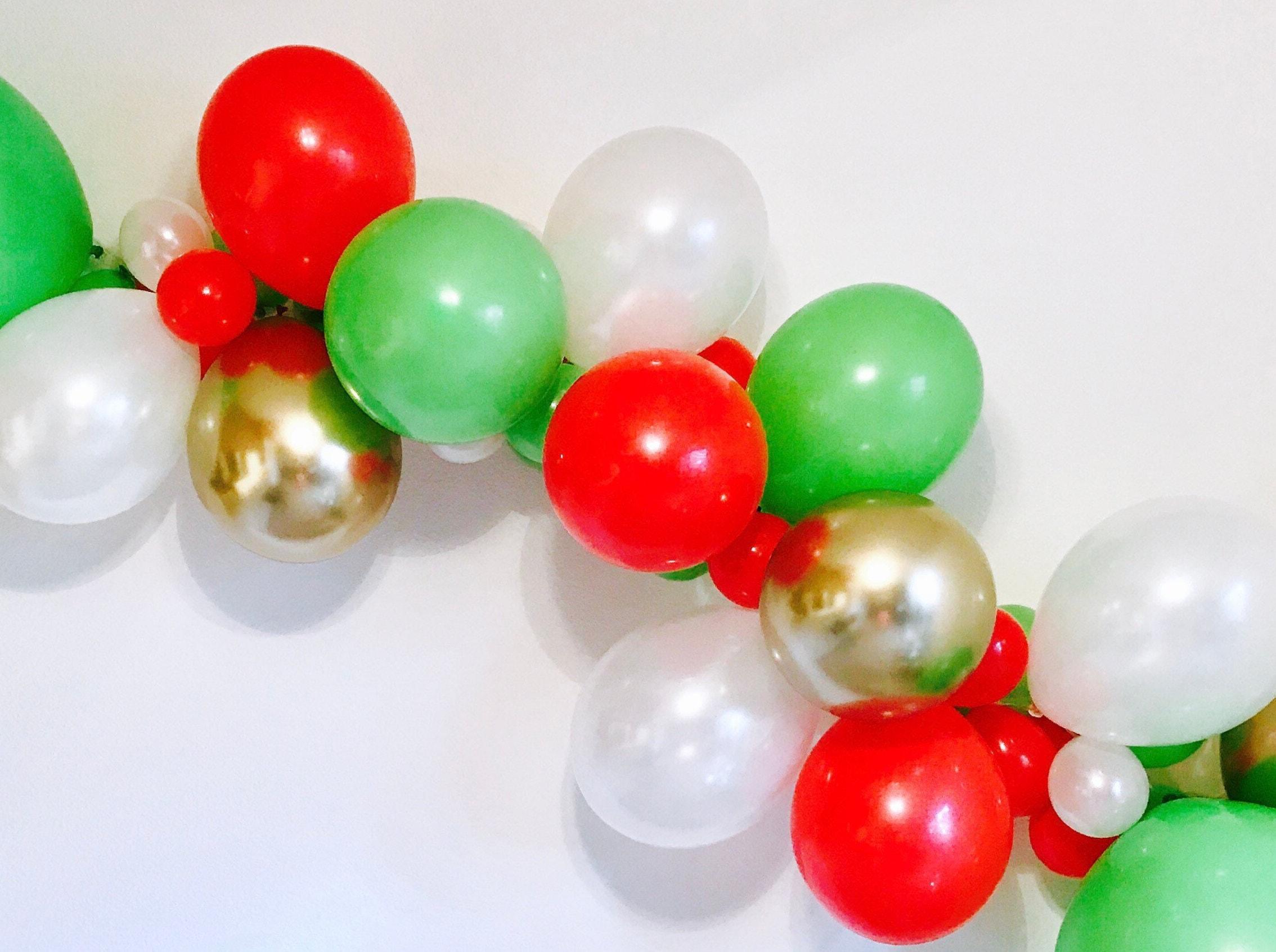Christmas Balloon Garland Holiday Balloon Garland Christmas Party Decor Christmas Balloons Red Gold Green Balloons Merry Friendsmas