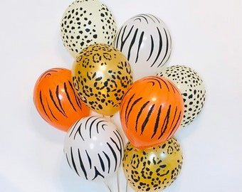 Animal Print Balloons, Zoo Party Balloons,,Cheetah Print Balloons  Zebra Print, Leopard Print, Safari Party, Gold Leopard Balloons,